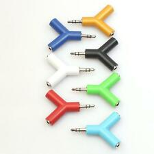 3.5mm Stereo Audio Y-Splitter 2 Female to 1 Male Cable Adapter For Earphone HH