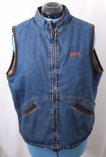 Wrangler 15101 Hero Vtg Sherpa Lined Corduroy Zip Jean Denim Vest Men's L