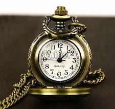 Retro Bronze Steampunk Quartz Necklace Pendant Chain Pocket Watch