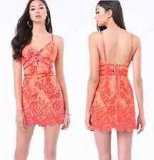 NWT bebe coral red lace floral cutout deep v neck bustier top dress M medium 6