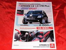 """CITROEN c2 1.4 VTR PLUS """"SPORT"""" speciale modello prospetto foglio di 2006"""