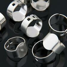 10 Silver Plated Oval Adjustable Ring Blanks Pad Base Findings 0.6""