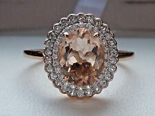 NEW 1.5ct Cor-de-Rosa Morganite & Zircon Double Halo Ring- 10K Rose Gold Sz 8