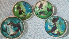 SET OF 4 DIFFERENT MERMAID GLASS DOME PICTURE BUTTONS - TURTLE, FISH & SWIMMING