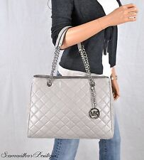 NWT MICHAEL KORS SUSANNAH GRAY QUILTED LEATHER SHOULDER BAG TOTE PURSE HANDBAG