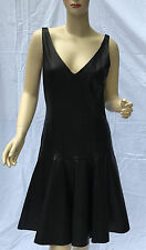 Ralph Lauren Black Leather Dress Womens 8 Flared Lined New