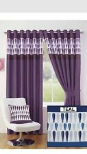 "Teal Navy Blue White Pattern Ring Top Lined Curtains Fully Lined 90x90"" 229x229c"