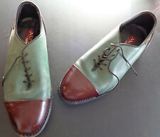 MCLEAN Vintage Mens GERMANY Golf Shoes Metal Spikes Teal Brown EUR 38 US Size 6