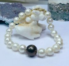 GENUINE SALTWATER TAHITIAN BLACK INDONESIAN WHITE SOUTH SEA PEARLS 14K BRACELET