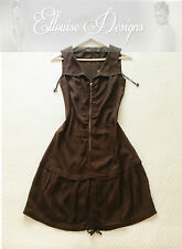 NWT! CUE Brown Zip Shift Slouch Pull Tie Drop Waist Work Tunic Dress Size 6 (8)