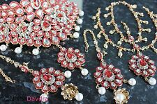 Red Diamante Necklace Earrings Headpiece Set Indian Bollywood