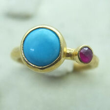 Hammered Handmade Turquoise Ring With Ruby 24K Gold Over 925K Sterling Silver