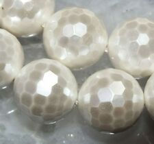16mm White Shell Pearl Faceted Round Loose Beads 11pc