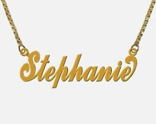 GOLD PLATED Personalized EXTRA LARGE Name Necklace ANY NAME of 8 to 10 LETTERS