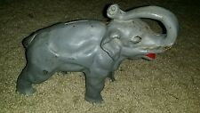 Vintage Early 1900's CAST IRON ELEPHANT ●STILL BANK HEAVY TRUNK UP Nice Antique