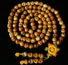 "Tibetan Yak  Bone 108 .3"" Hand Carved Skull Beads Buddhist Prayer Mala Necklace"
