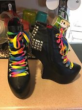 Privileged Amazee Heel Less Boot Bootie Platform Shoe Rainbow Lace Gravity Wedge