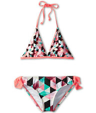 HURLEY KIDS PRISM REVERSIBLE HALTER RETRO BIKINI 2 PIECE SET MULTI SIZE 12 $49