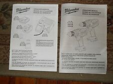 Milwaukee M18 Volt Cordless Drill 2603-20 2604-20 & Charger Operators Manual Set