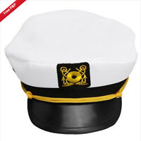 Adult Yacht White Boat Captain Hat Cap Skipper Sailor Costume Party Fancy NEW