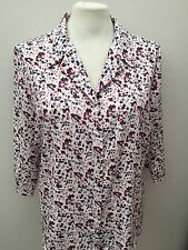 Classics - White Blue Brown & White Flower Design Collared Blouse - Size 22 NEW