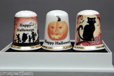 Happy Halloween Boxed Set of 3 China Thimbles