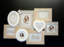 SHABBY Chic 8 Foto Muro Collage Multi Photo Frame White Natural PEACH LEGNO