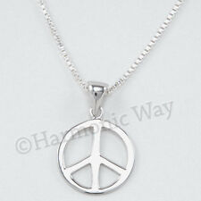 "PEACE SIGN SYMBOL Charm Pendant 925 Sterling Silver 18"" Chain Necklace"