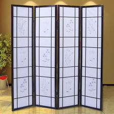 4 Panel Flowered Room Divider Screen Style Shoji Solid Wood Cherry New