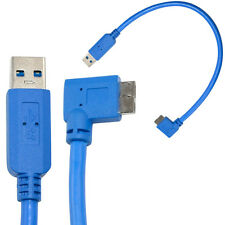 30cm USB 3.0 A Male to Micro B Male 10P 90 Degree Right Angle Extent Cable Blue