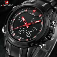 Naviforce Mens LCD Digital Analog Quartz Date Alarm Wrist Watch Sport Waterproof