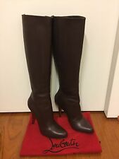 100% Authentic Christian Louboutin Bourge 100mm Brown Boot, Size 35