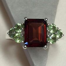 Natural Emerald Cut 8ct Fire Garnet Peridot 925 Solid Sterling Silver Ring 6.75