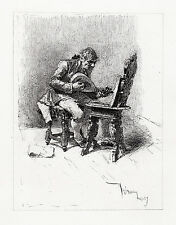 """ORIGINAL Mariano Fortuny 1800s Engraving """"The Guitar Player"""" SIGNED Framed COA"""