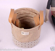 Set of 3 Linen Storage Bucket Basket Bin w Totes Yellow Strip Home Organizer