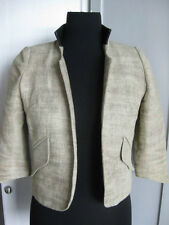 SMYTHE 100% Linen Open Front Cropped Jacket w/ Leather Collar 8