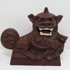 Large Vtg Chinese Brown Painted Cast Iron FOO DOG Door Stop Statue Foo Lion 5lb+