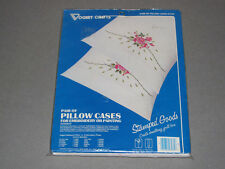 Sealed Vogart Crafts Stamped ROSEBUD Embroidery / Painting PILLOW CASES Kit 8703