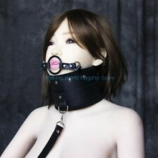 Slave Game Collar + Open Mouth Ring Oral Ball Leash Neck Fixation Restraints Toy
