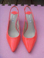 BODEN NEON PATENT LEATHER CHELSEA SLINGBACKS - KITTEN HEEL - SIZE 39 (UK 6)