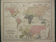 1892 VICTORIAN MAP ~ WORLD ETHNOGRAPHIC DISTRIBUTION OF RACES OF MAN NEGRO etc