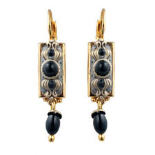 Michal Golan Black and Gold Onyx Rectangle Dangle Earrings