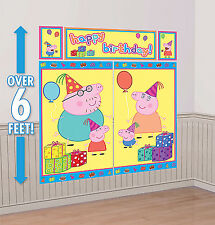 PEPPA PIG Scene Setter Happy Birthday Party Wall Decorations kit~ Mom Dad George