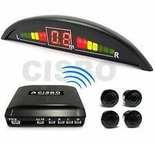 BLACK WIRELESS CAR REVERSING PARKING SENSORS 4 SENSOR KIT LED DISPLAY