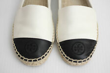 Tory Burch Colorblock Cap Toe Espadrille Flat Slip On- Black / White - 7US