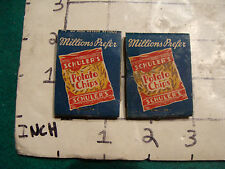 vintage Matches 1930's or 40's: 2 SCHULER'S Potato Chips 1 unused