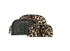 Victoria's Secret LEOPARD Print 3 Pc BEAUTY BAG Trio Cosmetic Travel Case New