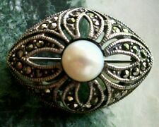 Antique Art Deco Marcasite Sterling Silver Pin Faux Pearl Brooch Vintage Jewelry