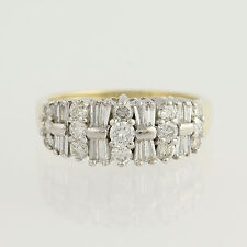 Diamond Ring - 14k Gold Round Brilliant Cut & Baguette Cut 1.00ctw