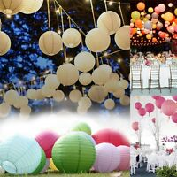"UK Stock Wedding Round Party Paper Lanterns Decorations 8"" 10"" 12"" with bulb"